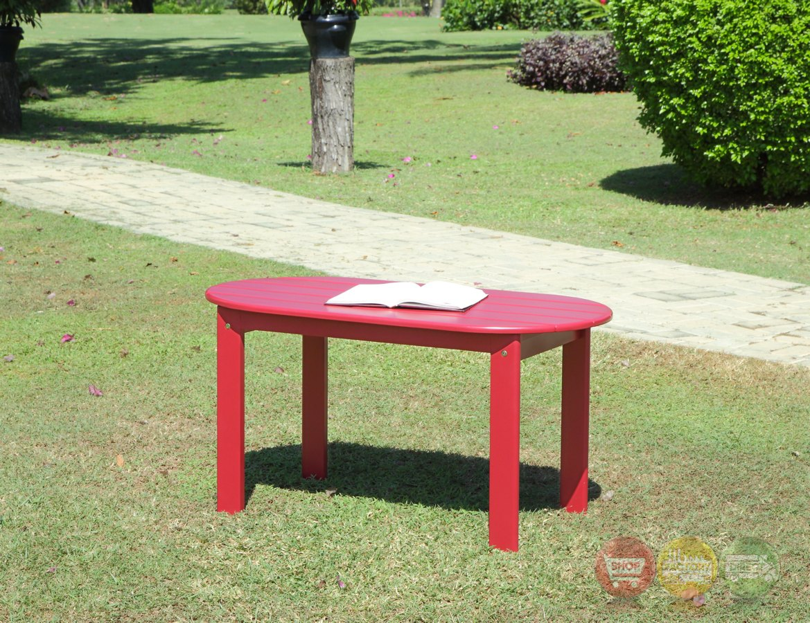 Adirondack Outdoor Red Coffee Table With Solid Wood Construction