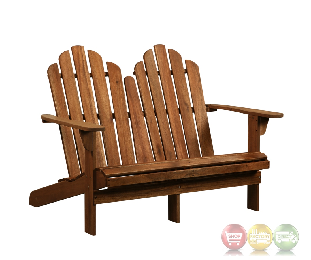 Adirondack Outdoor Teak Double Bench With Solid Wood Construction