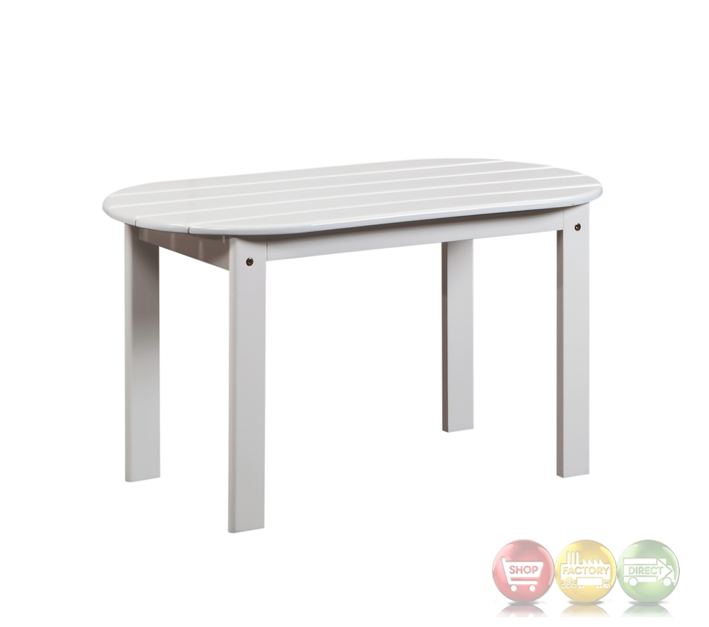 Adirondack Outdoor White Coffee Table With Solid Wood Construction