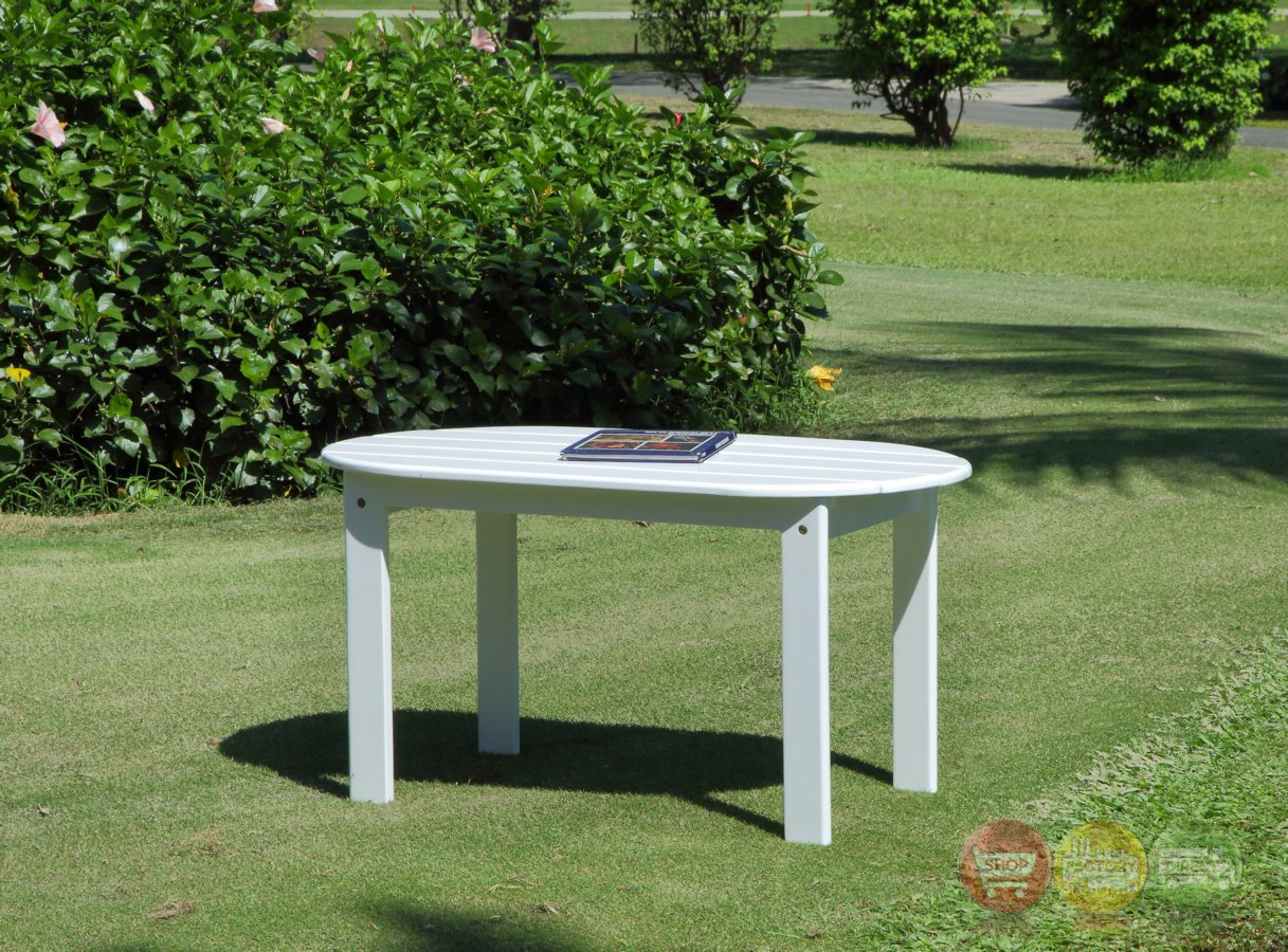 Adirondack Outdoor White Coffee Table With Solid Wood