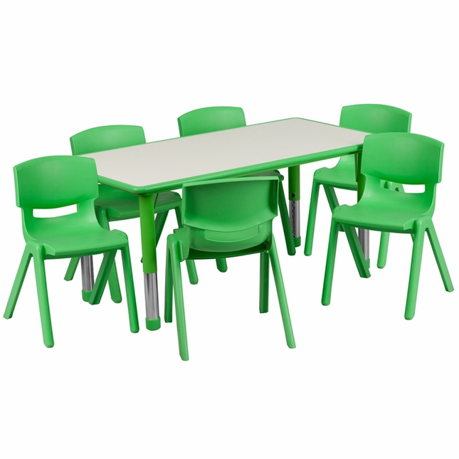 Adjustable Rectangular Green Plastic School Activity Table and 6 Stacking  ChairsAdjustable Rectangular Green Plastic School Activity Table and 6  . Green Plastic Stack Chairs. Home Design Ideas