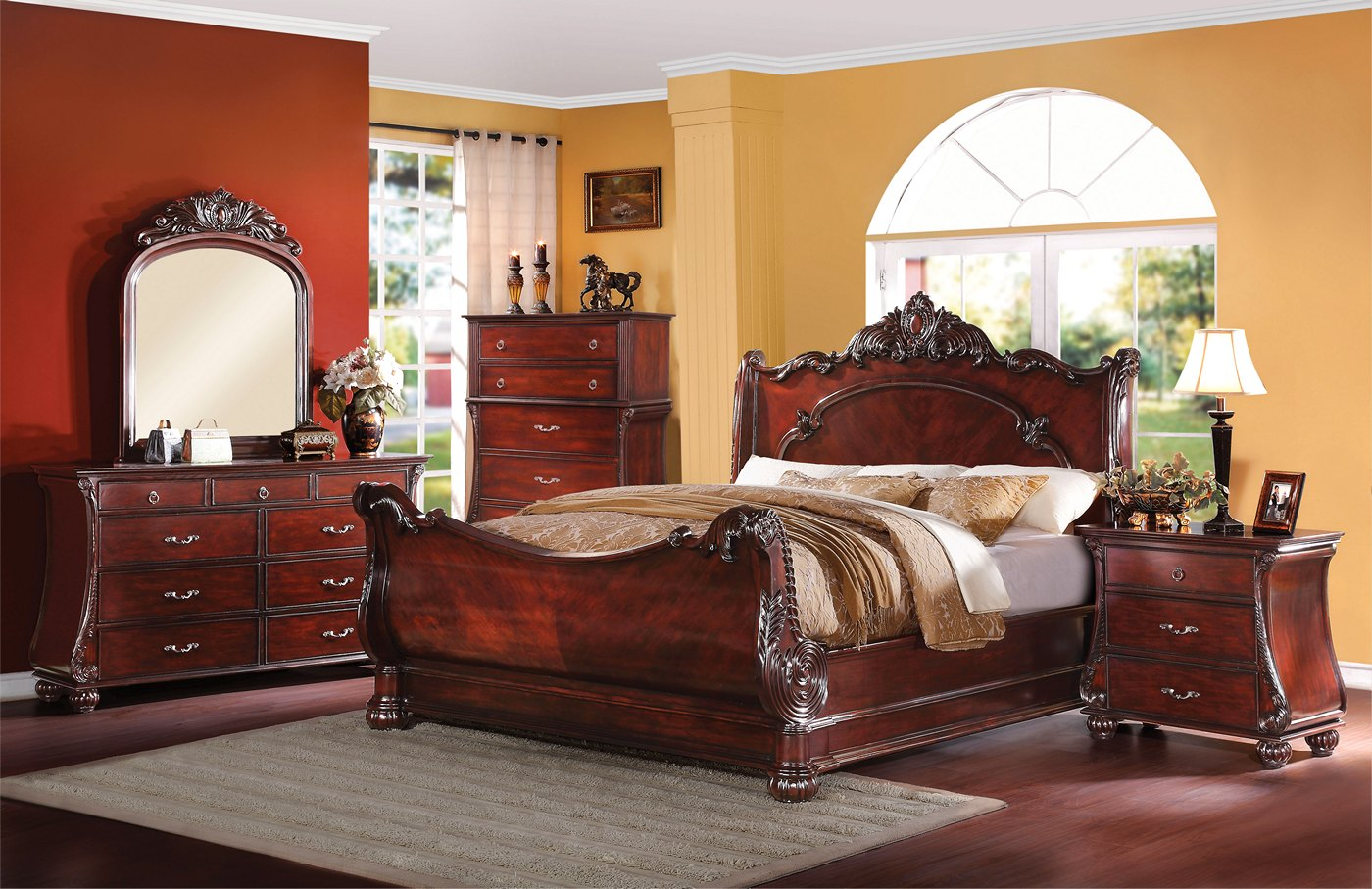 Adonias Classic Ornate 4 Pc Queen Sleigh Bed Set In Cherry