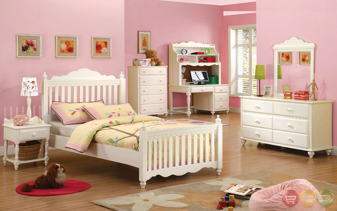 adriana princess white youth bedroom set cm7617y