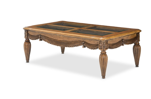 Adriana Royal Rococo Hand Carved Glass Top Coffee Table In Cognac