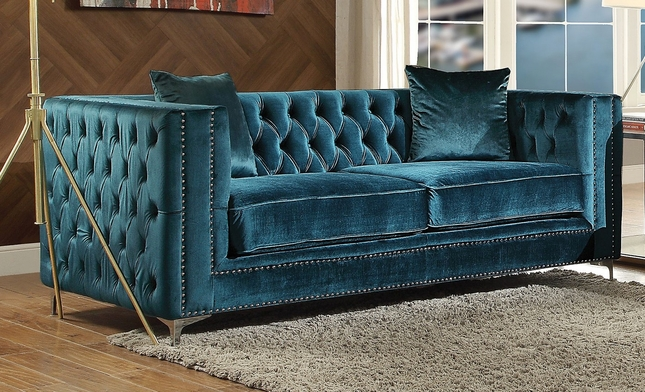 rolled with tufted product home loveseat arms velvet chesterfield corvus garden prato