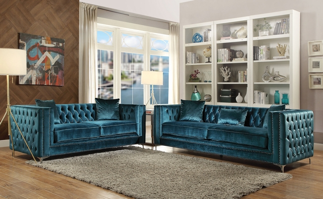Aegean Contemporary Dark Teal Tufted Velvet Sofa Loveseat W Silver Accents