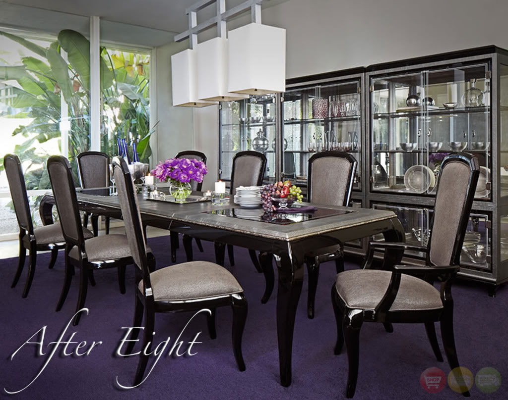 Michael amini after eight formal dining room set black for Black dining room set