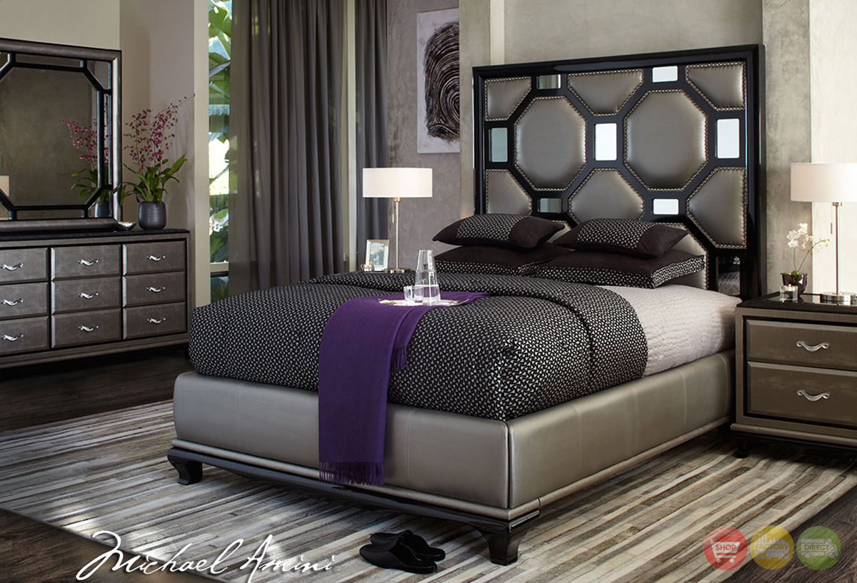 Michael amini after eight modern upholstered bedroom for Furniture bedroom