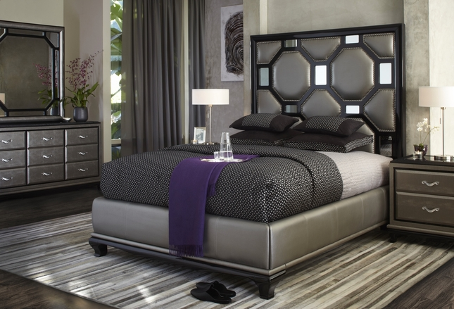 Michael Amini After Eight Modern Upholstered Bedroom Furniture Set ...