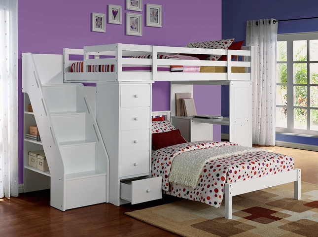 Agneta Kids White Twin Bunk Beds with Steps and Desk