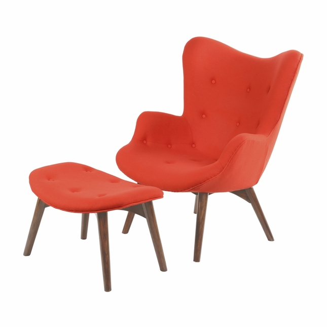 Charmant Aiden Mid Century Modern Red Chair And Ottoman In Walnut Finish