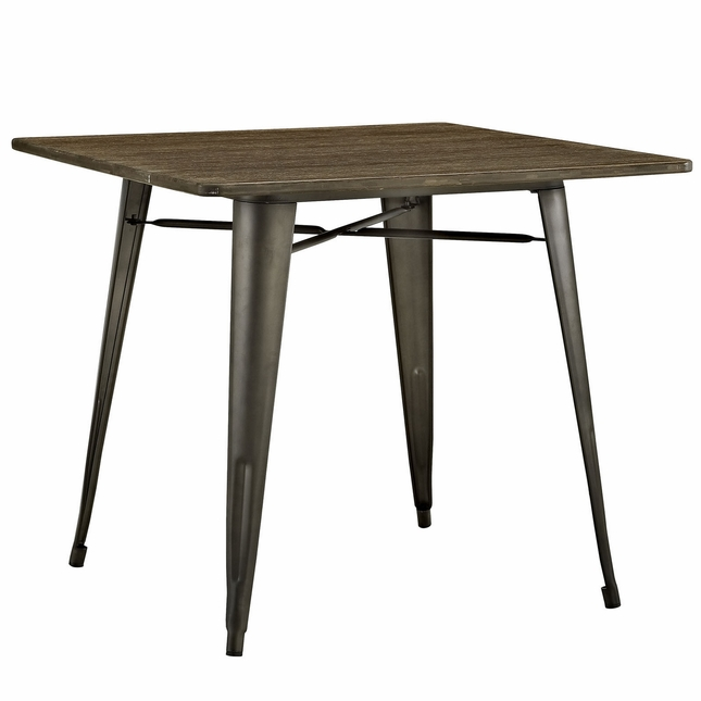 alacrity industrial 36 square wood dining table with steel legs brown - Square Wood Dining Table