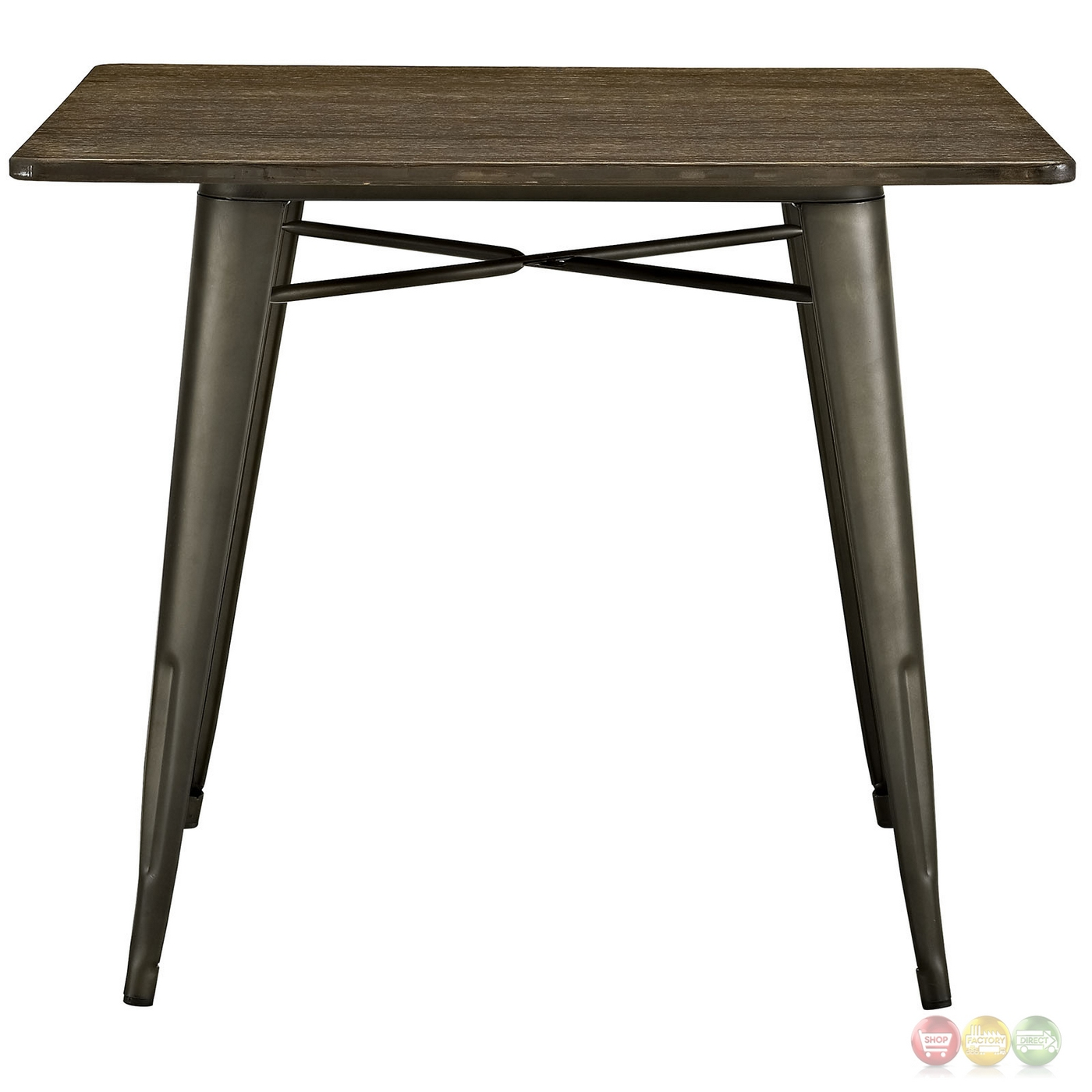 Alacrity Industrial 36 Square Wood Dining Table With Steel Legs Brown