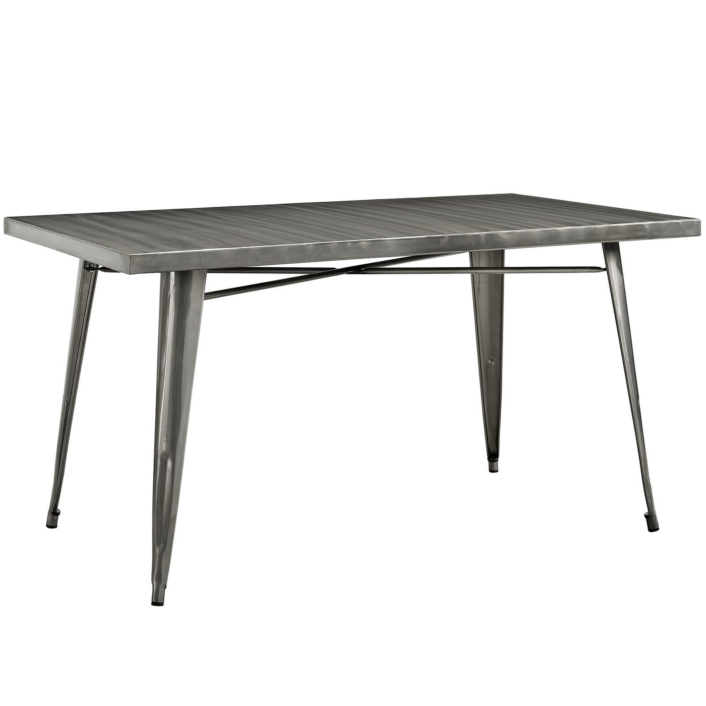 Alacrity modern vintage 60 steel dining table with for Dining table finish