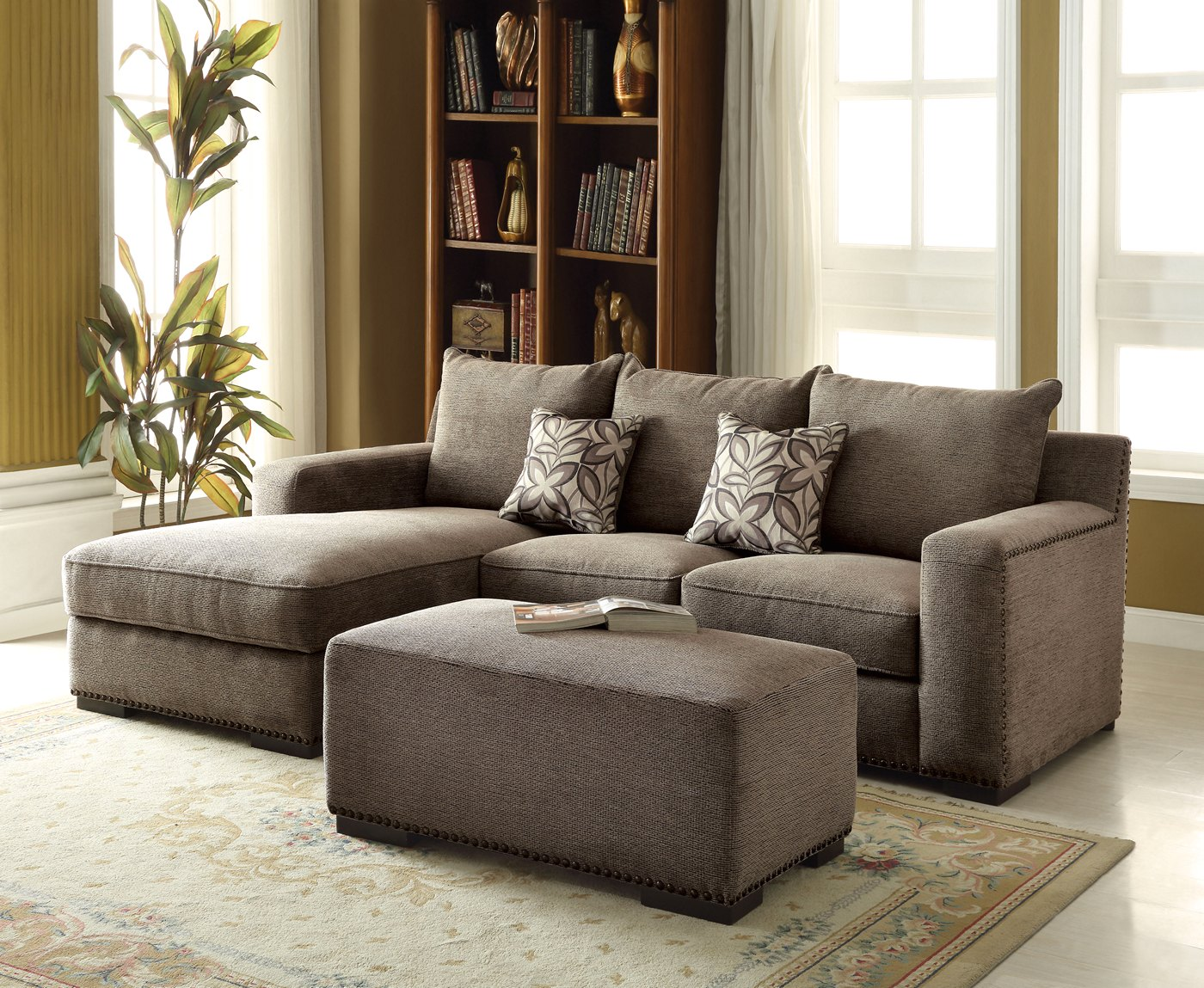 Gray Chenille Sectional Sofa | Nailhead Trim Sectional