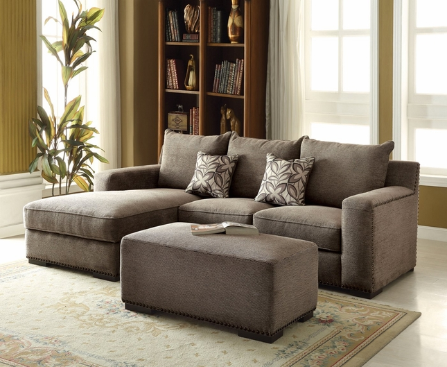 Gray Chenille Sectional Sofa Nailhead Trim Sectional