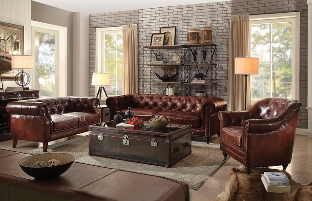 Vintage Chesterfield Sofa & Loveseat | Dark Brown Leather Sofa Set