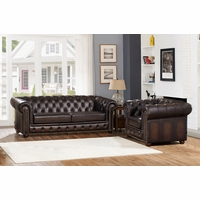 Albany Dark Brown Chesterfield Sofa & Chair in 100% Genuine Leather