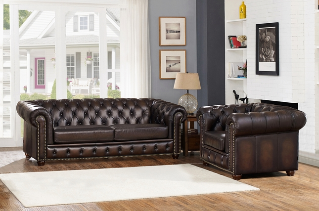 Albany Dark Brown Chesterfield Sofa Chair In 100 Genuine Leather
