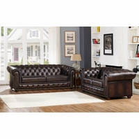Albany Dark Brown Chesterfield Sofa & Loveseat in 100% Genuine Leather