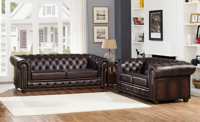 Dark Brown Chesterfield Sofa Loveseat in 100 Genuine Leather