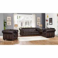 Albany Dark Brown Chesterfield Sofa & Two Chairs in 100% Genuine Leather