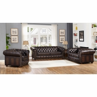 Albany Traditional Dark Brown Chesterfield 3-Pc Sofa Set in 100% Genuine Leather
