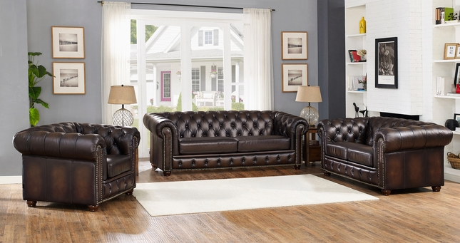 Albany Traditional Dark Brown Chesterfield 3-Pc Sofa Set in ...