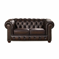 Albany Traditional Dark Brown Chesterfield Loveseat in 100% Genuine Leather