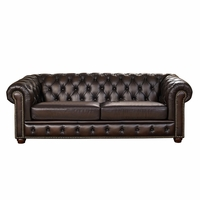 Albany Traditional Dark Brown Chesterfield Sofa in 100% Genuine Leather