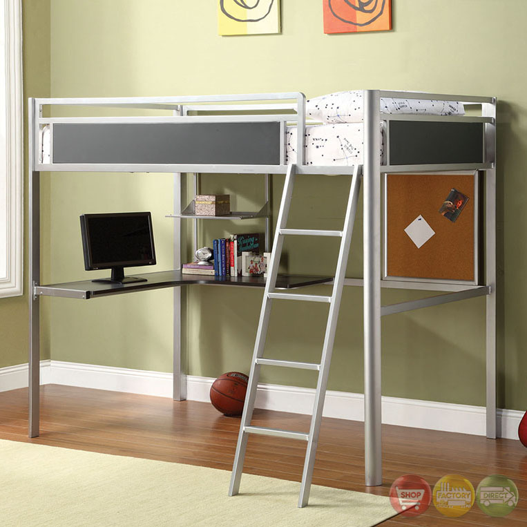 Alexa Contemporary Silver And Dark Gray Loft Bed With