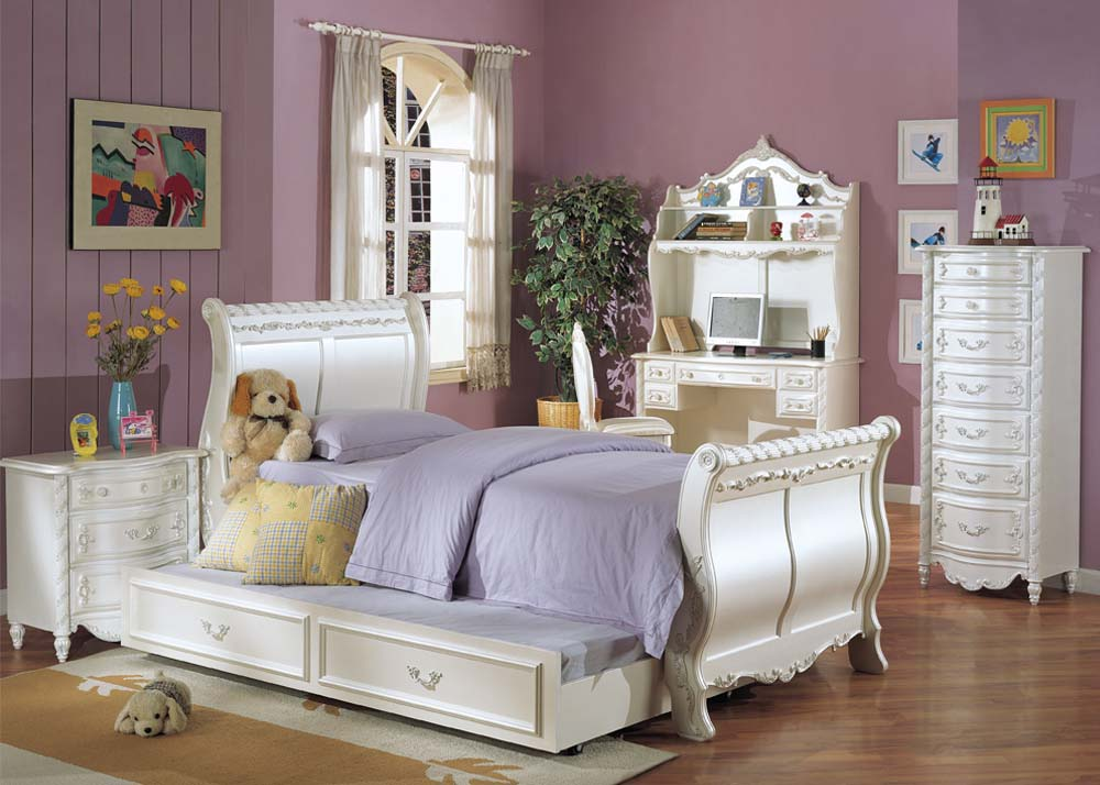 Alexandria pearl white twin sleigh bed trundle White twin trundle bedroom set