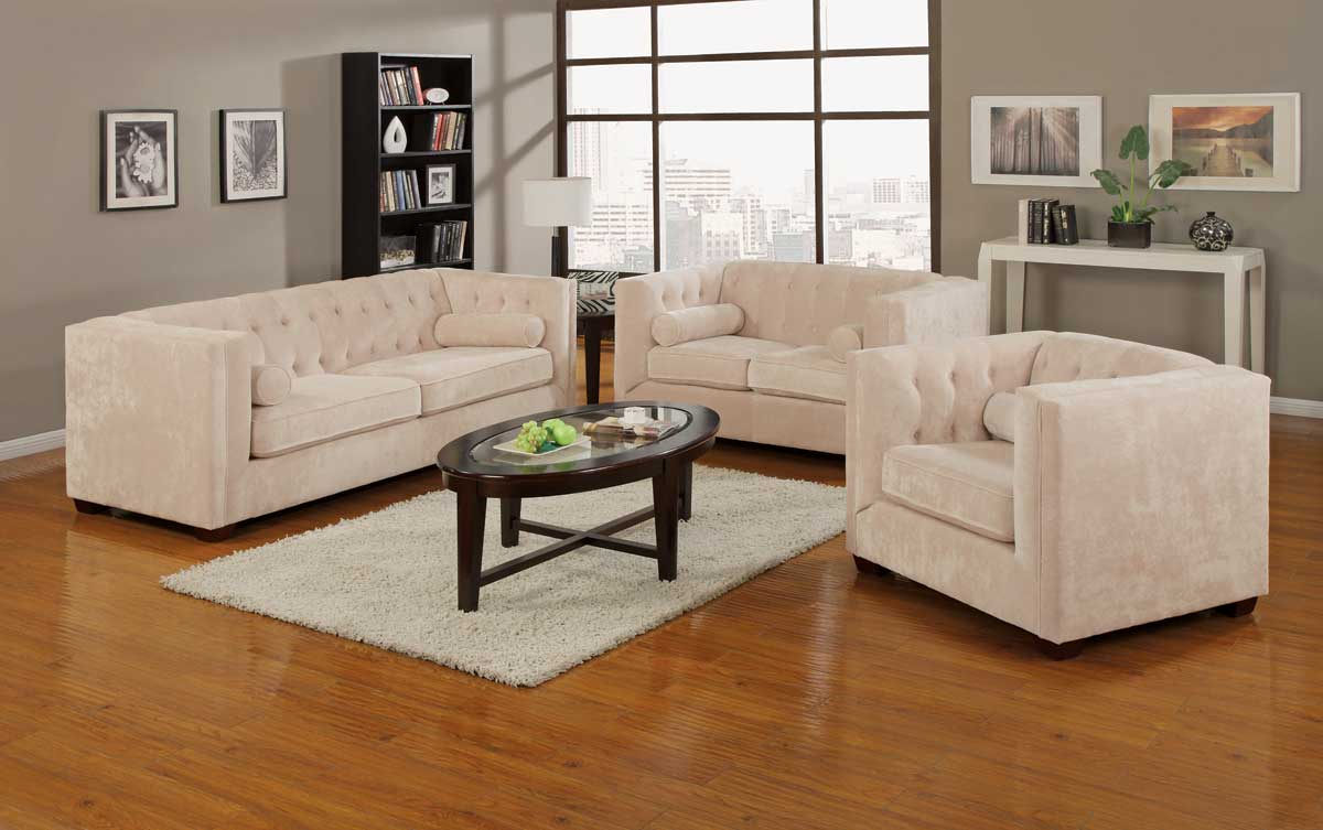 Alexis Tan Transitional Chesterfield Sofa Love Chair Living Room Furniture Set Ebay