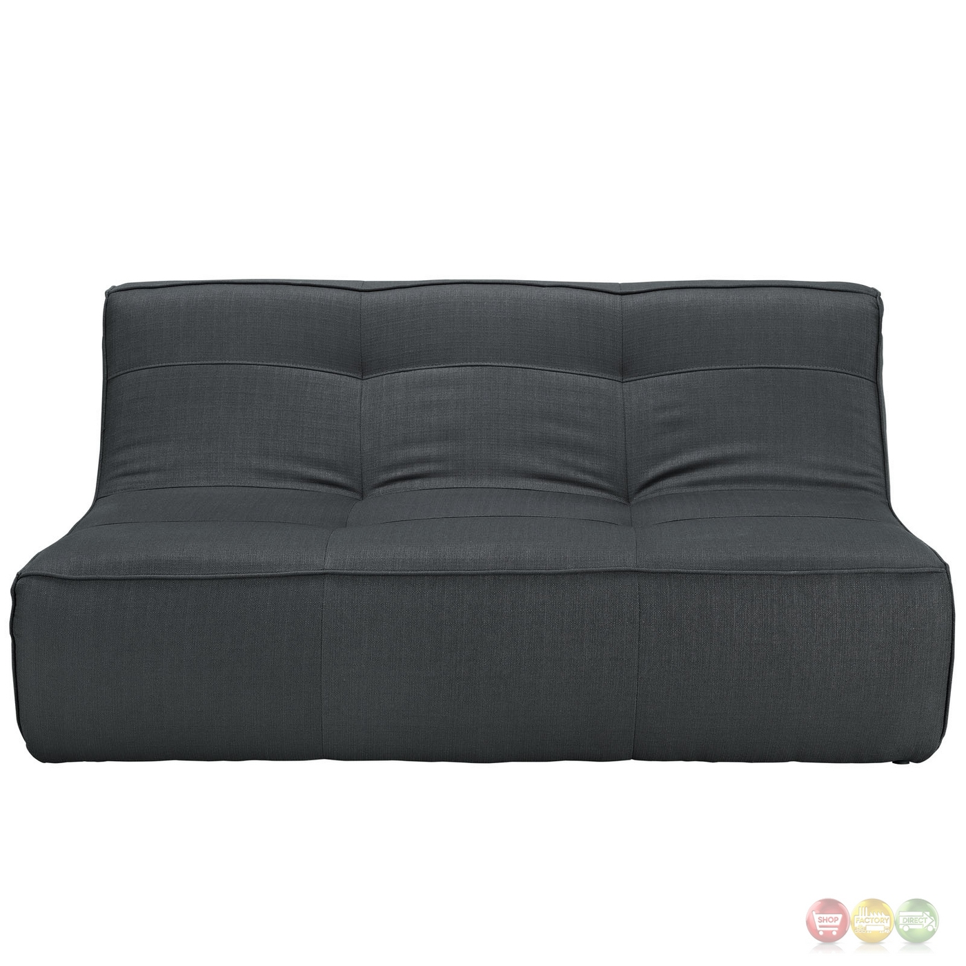 Align Contemporary Loveseat Upholstered In Bonded Leather Charcoal