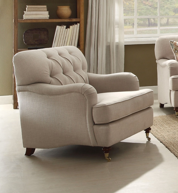 Aliza Contemporary Beige Fabric Accent Chair w/ Button Tufted Back