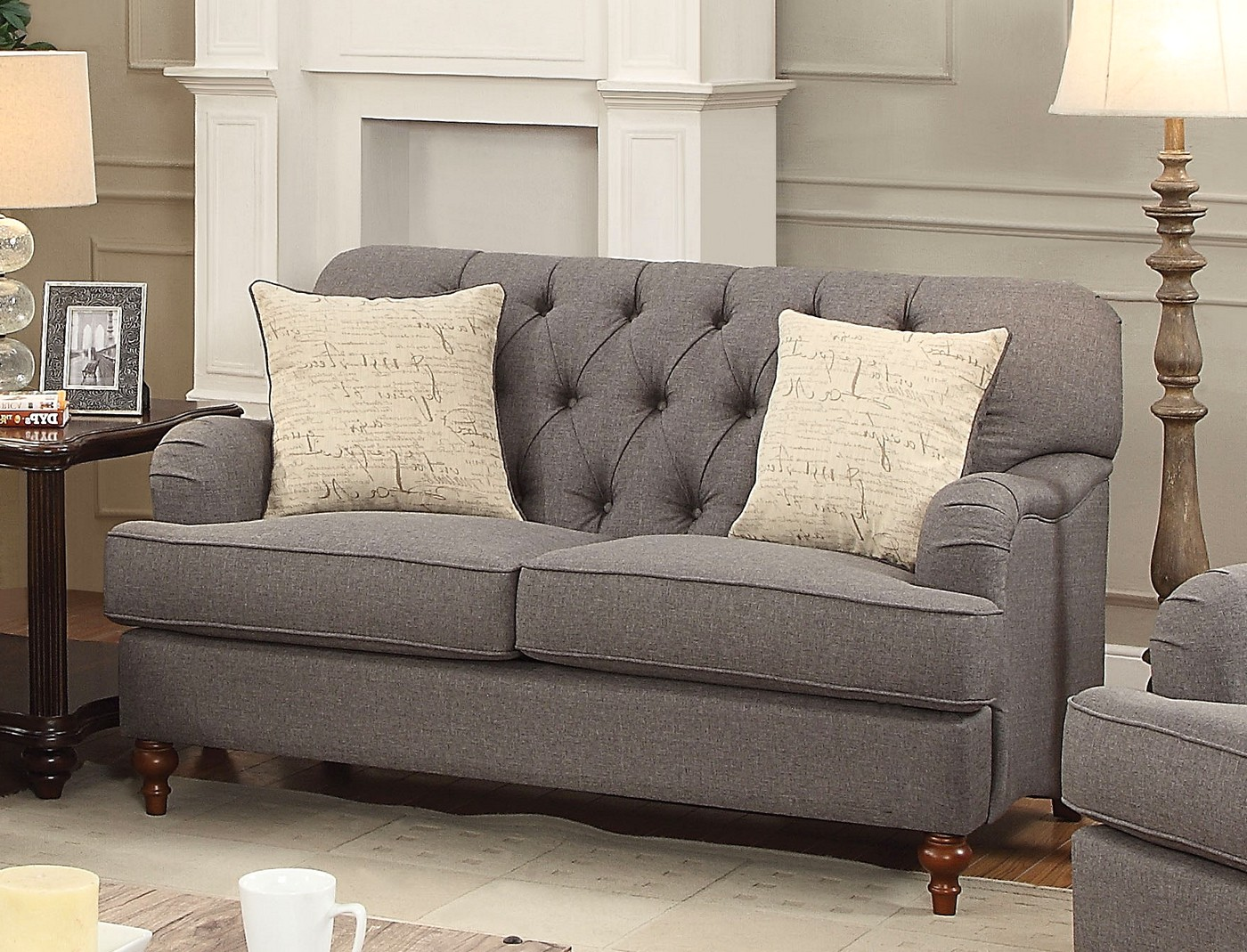 Aliza Contemporary Dark Gray Button Tufted Sofa & Loveseat Set