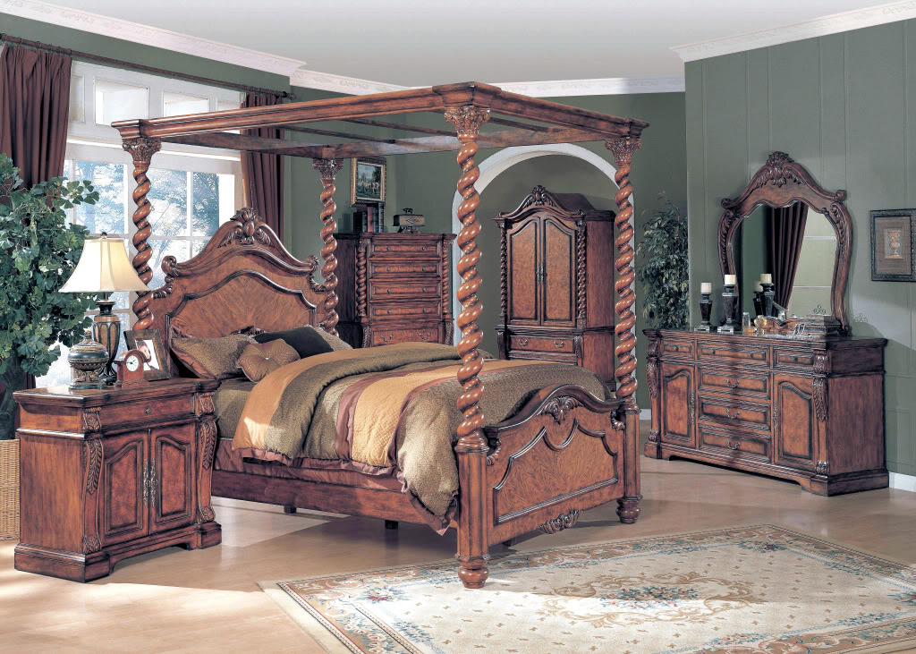 Allison oak traditional poster canopy bedroom collection free shipping for Annifern poster bedroom collection