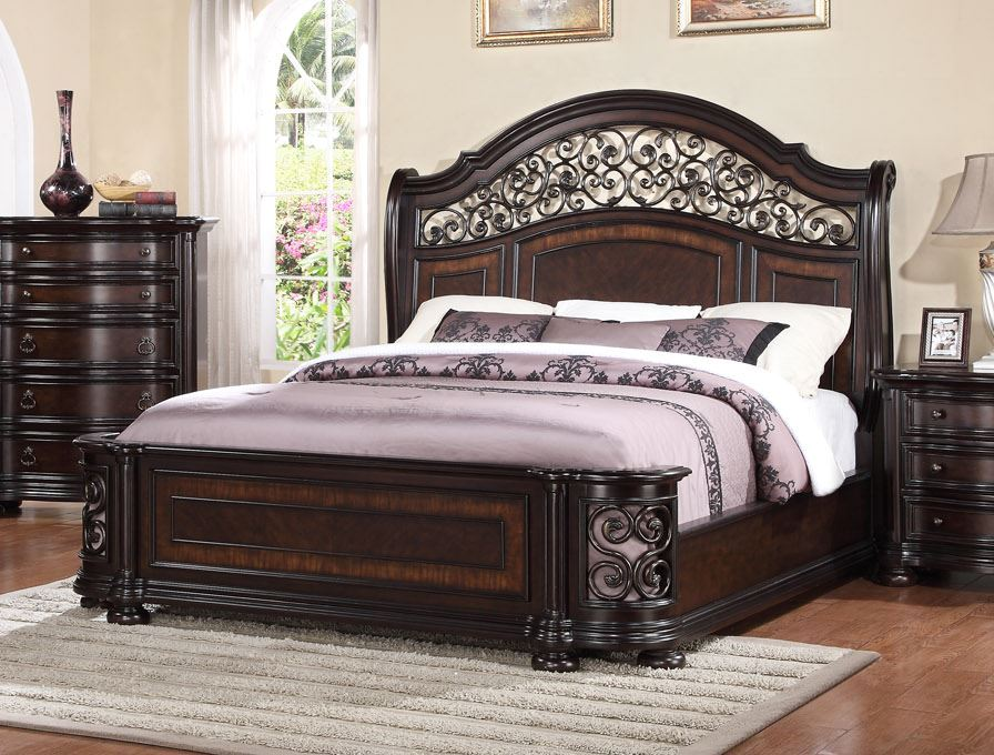 Dark Wood King Size Sleigh Bed