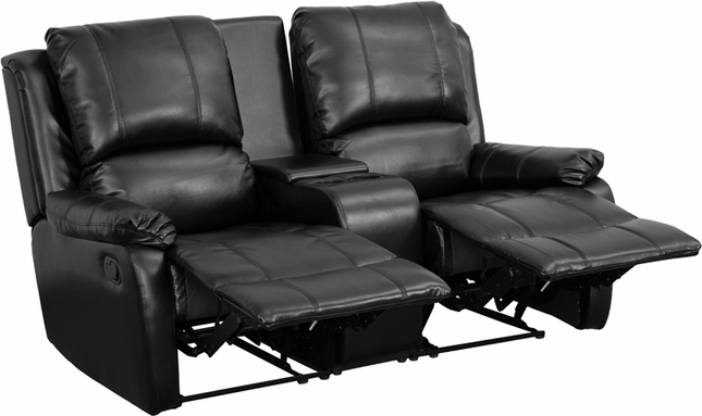 Allure 2-seat Reclining Pillow Back Black Leather Theater Seats W/ Cup Holders