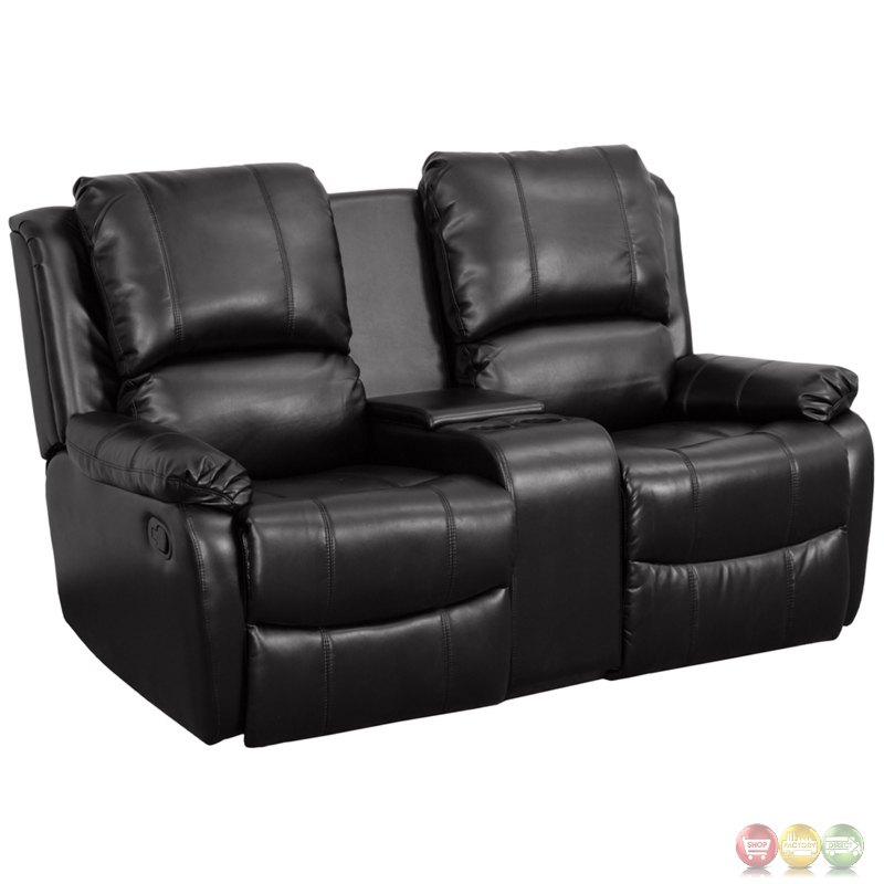 Allure 2 Seat Reclining Pillow Back Black Leather Theater