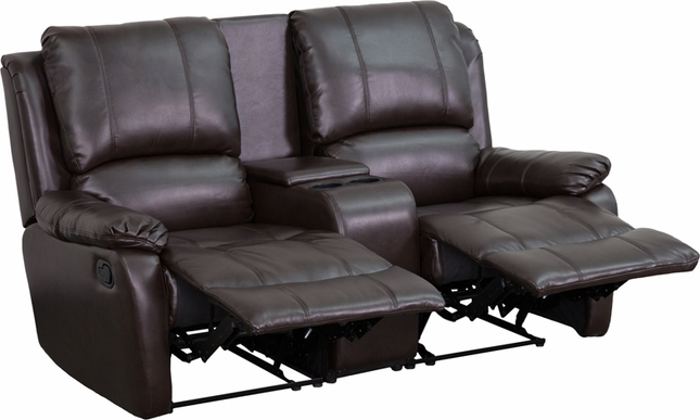 Allure 2-seat Reclining Pillow Back Brown Leather Theater Seats W/ Cup Holders