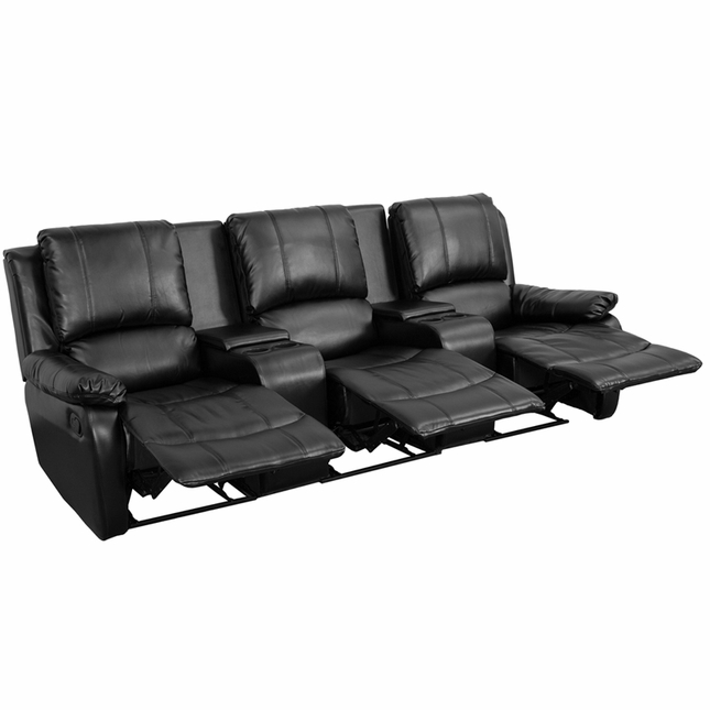 Allure 3-seat Reclining Pillow Back Black Leather Theater Seats W/ Cup Holders