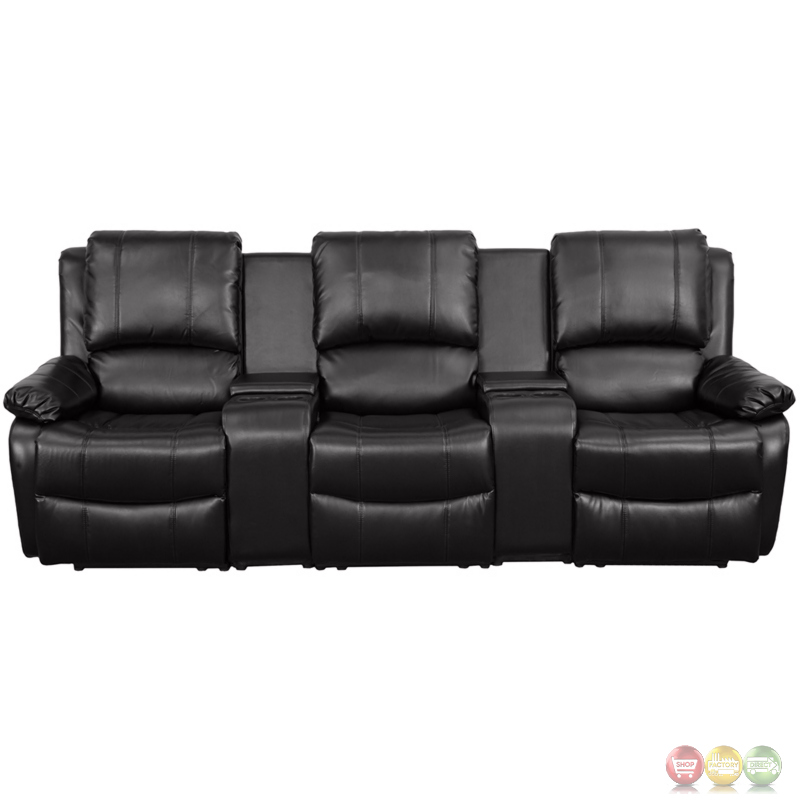 Allure 3 Seat Reclining Pillow Back Black Leather Theater