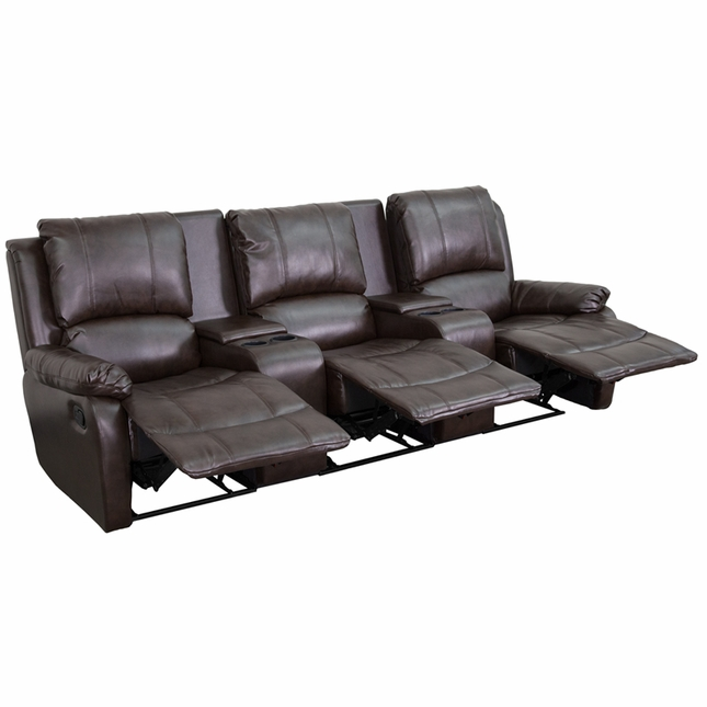 Allure 3-seat Reclining Pillow Back Brown Leather Theater Seats W/ Cup Holders