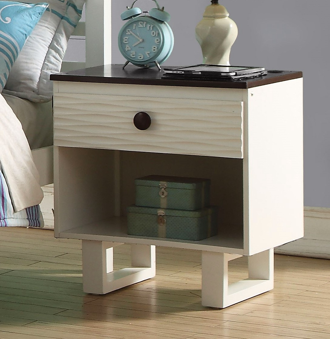 Contemporary Whiskey White Finish 1pc Full Size Bed For: Almira Kids Contemporary 1-Drawer Nightstand In White