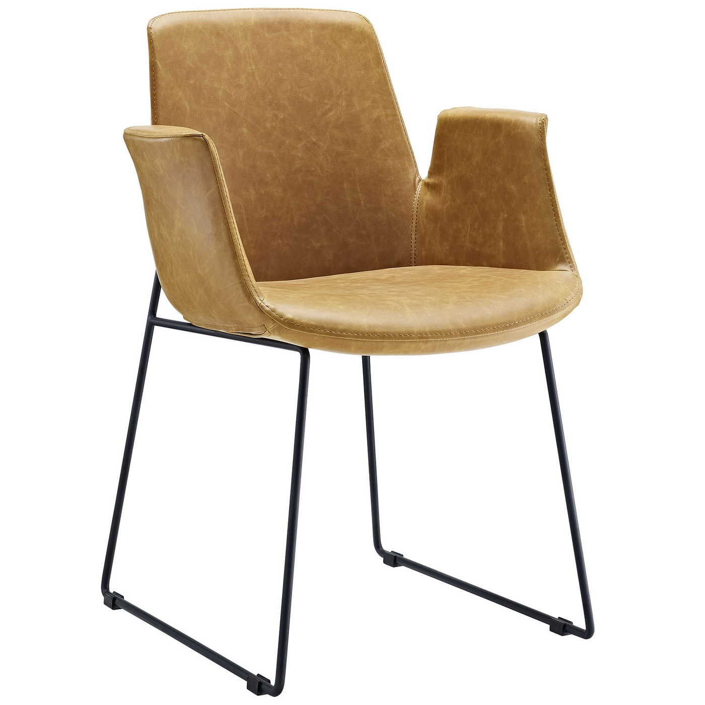 Mid Century Modern Aloft Faux Leather Winged Arm Chair W