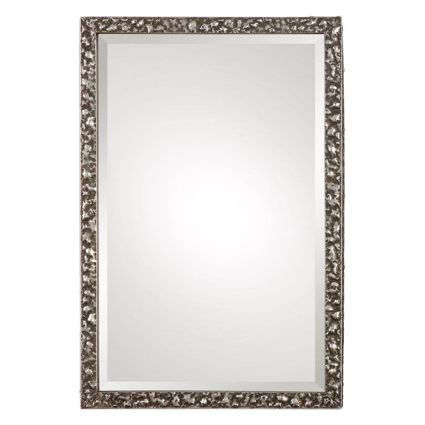 Alshon hand hammered hand forged iron framed mirror in for Silver framed mirror