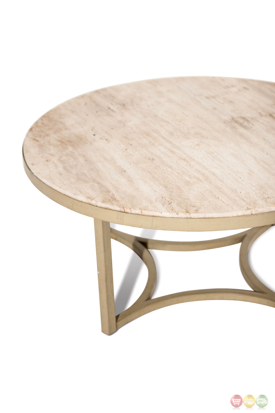 Alta casual round cocktail table with beige travertine Round cocktail table