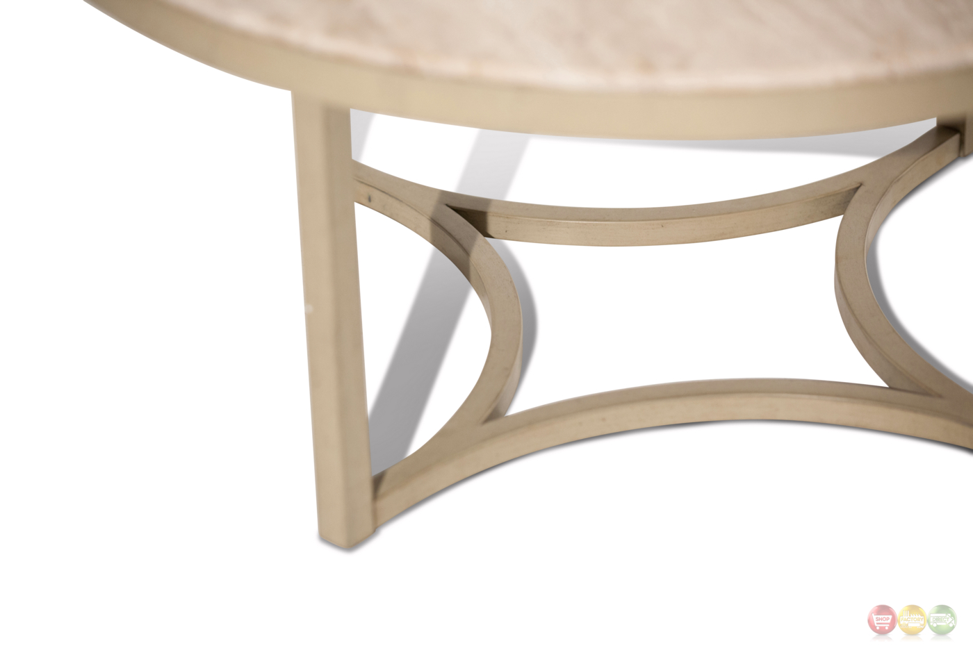 Alta Casual Round Cocktail Table With Beige Travertine Marble Top
