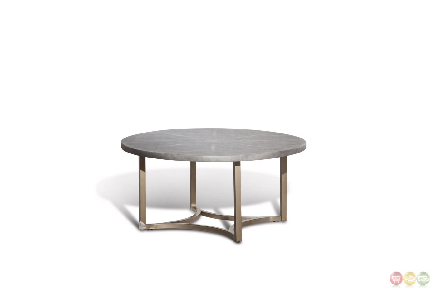 Alta Casual Round Cocktail Table With Upholstered Grey Vinyl Top